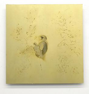 Pierre Vermeulen | Untitled Sweat Print Portrait nr. 1 | 2017 | Gold Leaf Imitate on Aluminium, Sweat | 55 x 55 cm