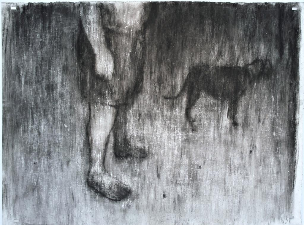 Johann Louw | Onderlyf, Hond | 2016 | Charcoal on Paper | 124 x 168 cm