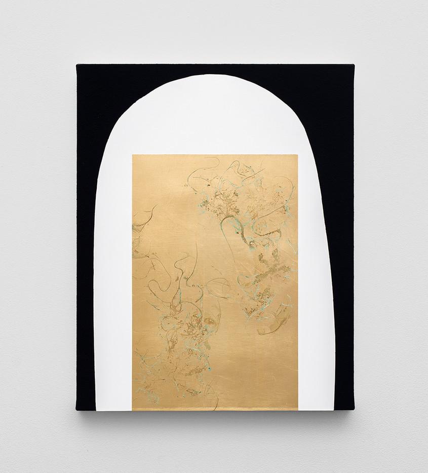 Pierre Vermeulen | Hair orchid sweat print, white shape black | 2020 | Sweat, Gold Leaf Imitate, Shellac and Acrylic on Belgian Linen | 50 x 40 cm