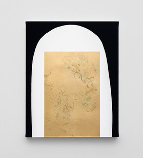 Pierre Vermeulen | Hair orchid sweat print, white shape black | 2020 | Sweat, Gold Leaf Imitate, Shellac and Acrylic on Belgian Linen | 50 x 40 cm