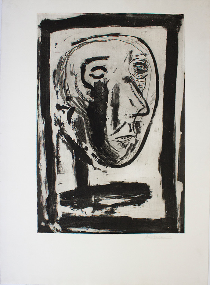 Albert Adams | Self Portrait | 1960 | Etching, Aquatint | 59 x 40 cm