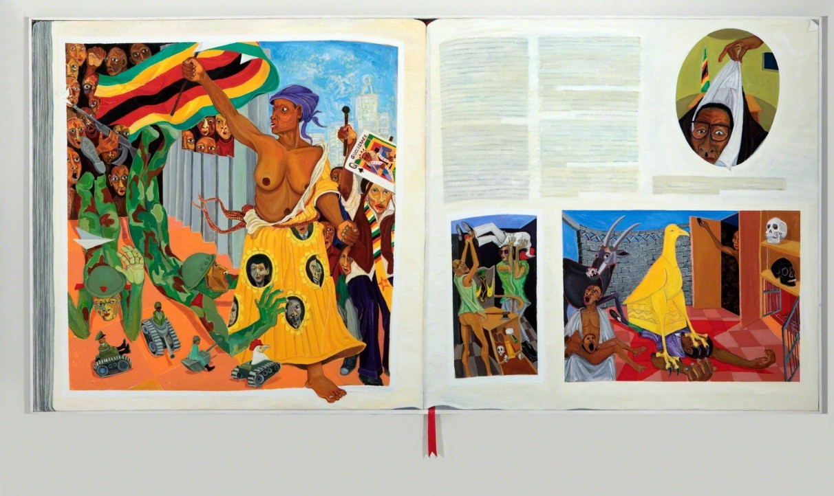Richard Mudariki | History Book | 2018 | Oil on Canvas | 170 x 303 cm