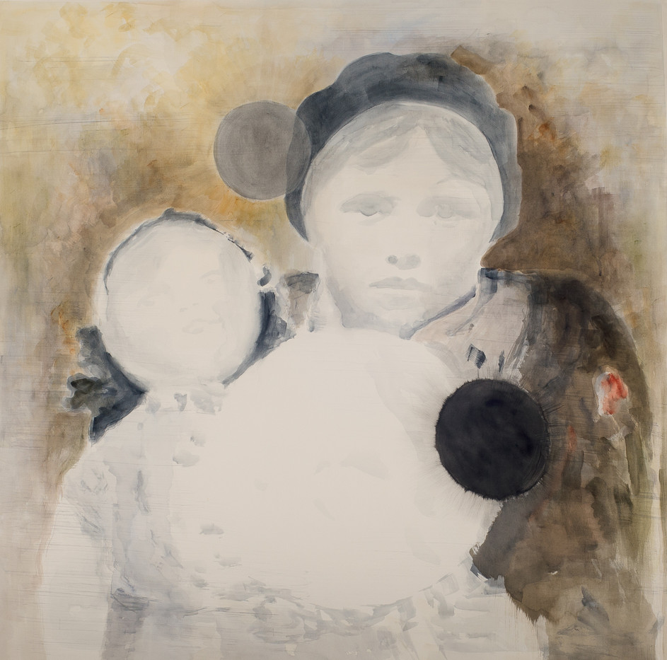 Uwe Wittwer   Madchen mit Puppe   2012   Watercolour on Paper   177 x 150 cm