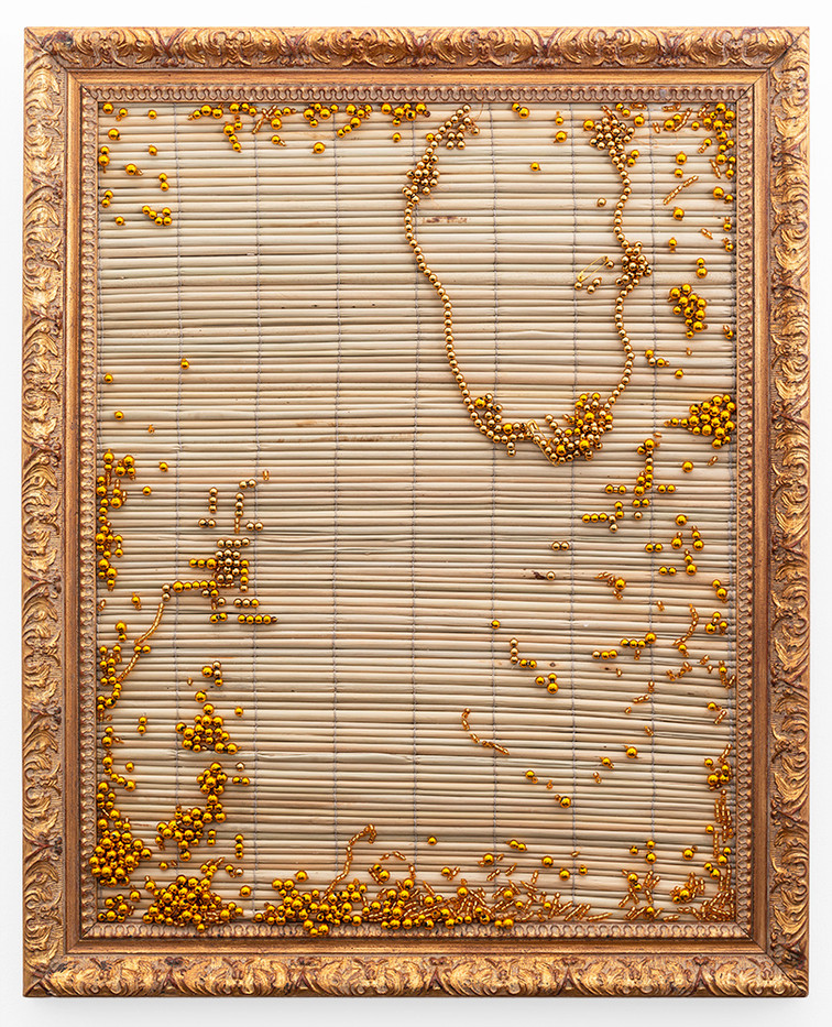 Simphiwe Buthelezi | Our dreams are drenched in gold II | 2019 | Straw Mat, Beadwork in Gilded Frame | 65 x 53 cm