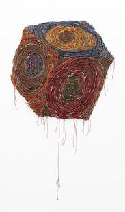 Wallen Mapondera | Target Box | 2019 | Cardboard, Waxed Thread and Wax Paper on Canvas | 153 x 77 cm