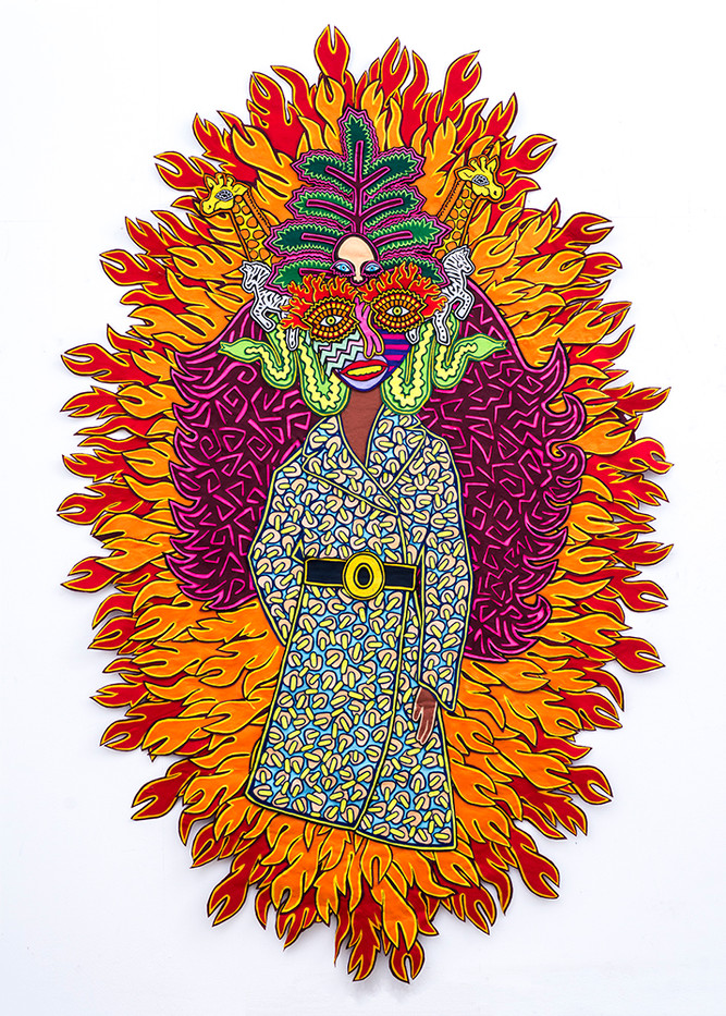 Jody Paulsen | Girl on Fire | 2018 | Felt Collage | 265 x 175 cm