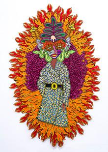Jody Paulsen | Girl on Fire | 2018 | Felt Collage | 265 x 175 cm