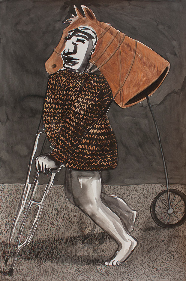 Colbert Mashile   Prodigal Son   2014   Watercolour on Paper   121 x 80 cm