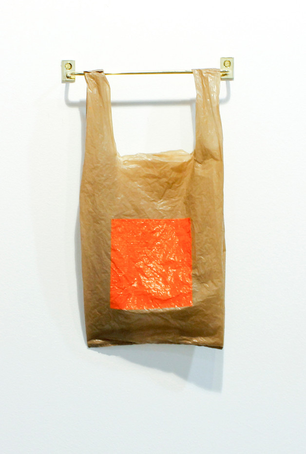 Helen A. Pritchard | Untitled - Carrier 31 | 2013 | Polythene Carrier Bag, Oil Paint and Brass Rail | 38 x 19 cm