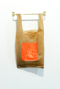 Helen A. Pritchard   Untitled - Carrier 31   2013   Polythene Carrier Bag, Oil Paint and Brass Rail   38 x 19 cm