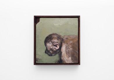 Johann Louw | Klein Geelgroen Portret | 2017 | Oil on Panel | 36 x 33.5 cm