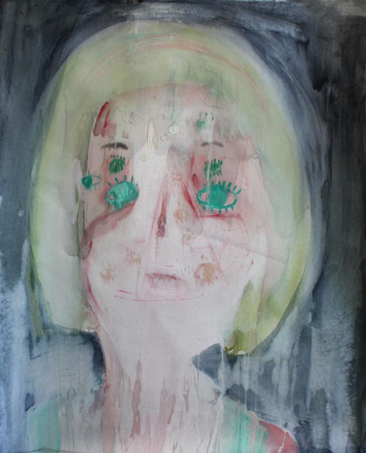 Georgina Gratrix   Rune Face   2012   Watercolour on Paper   150 x 120 cm