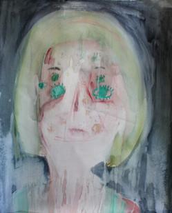 Georgina Gratrix | Rune Face | 2012 | Watercolour on Paper | 150 x 120 cm
