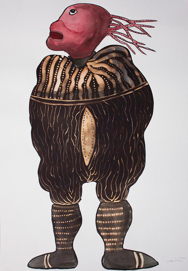 Colbert Mashile   Leloko IV   2014   Watercolour and Bleach on Paper   63 x 45 cm