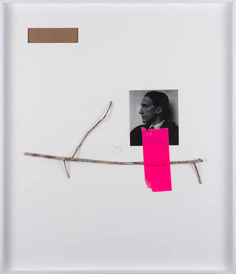 Ruann Coleman   Ode   2017   Found Twig, Photograph and Tape   49.5 x 43 cm