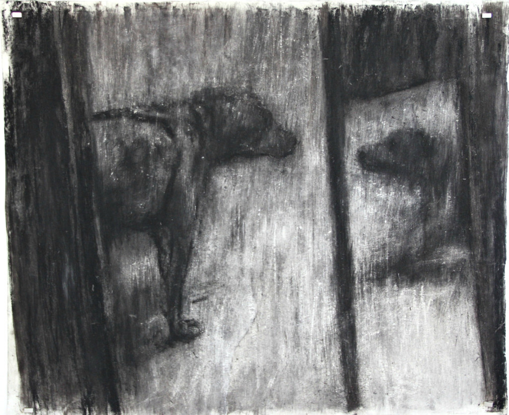 Johann Louw | Konfrontastie | 2016 | Charcoal on Paper | 127 x 158 cm