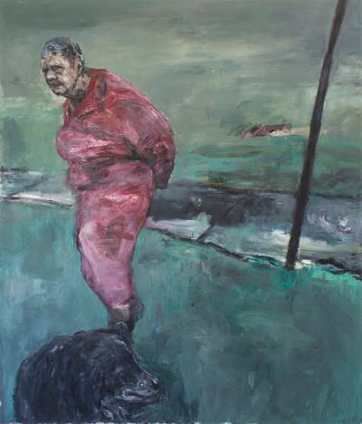 Johann Louw | Wandelend, met Hond I | 2015 | Oil on Canvas | 235 x 201 cm