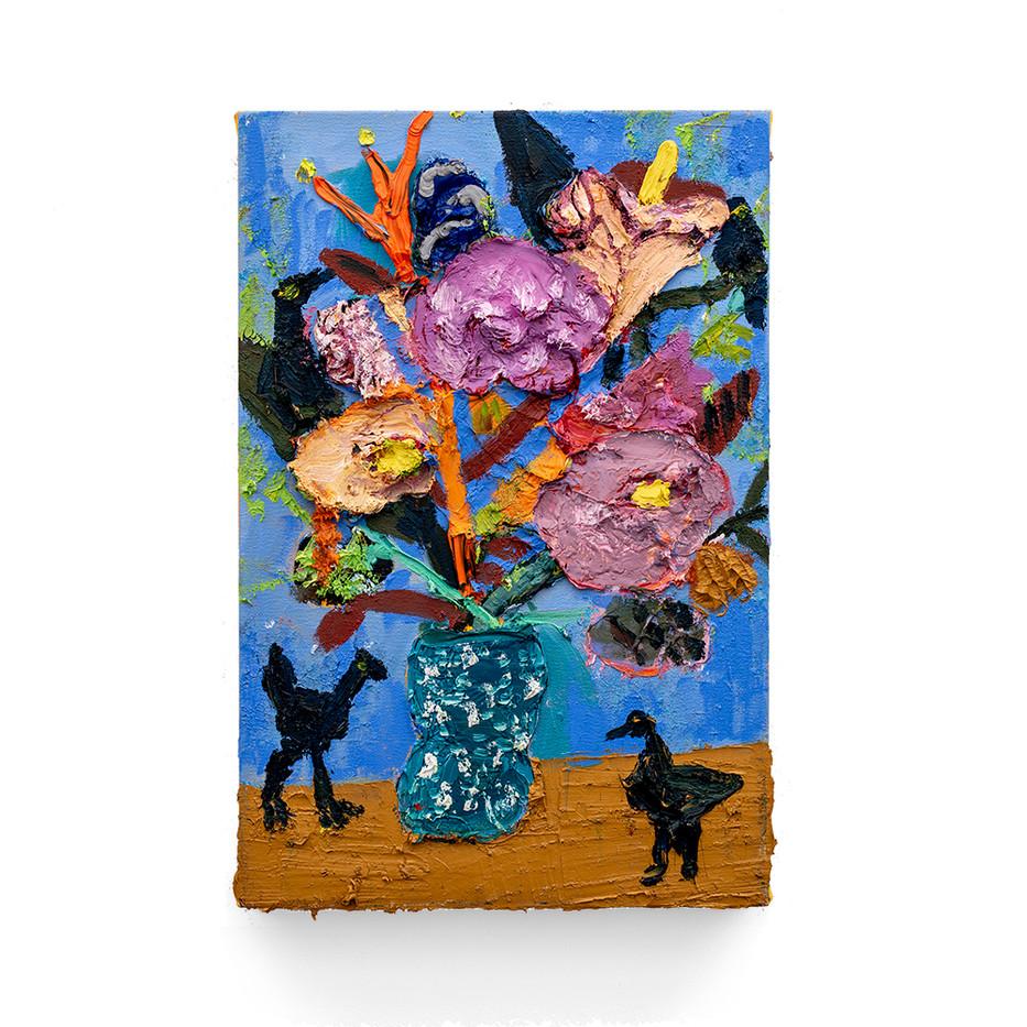 Georgina Gratrix | Blossoms with Black Birds | 2019 | Oil on Canvas | 59.5 x 40.5 cm