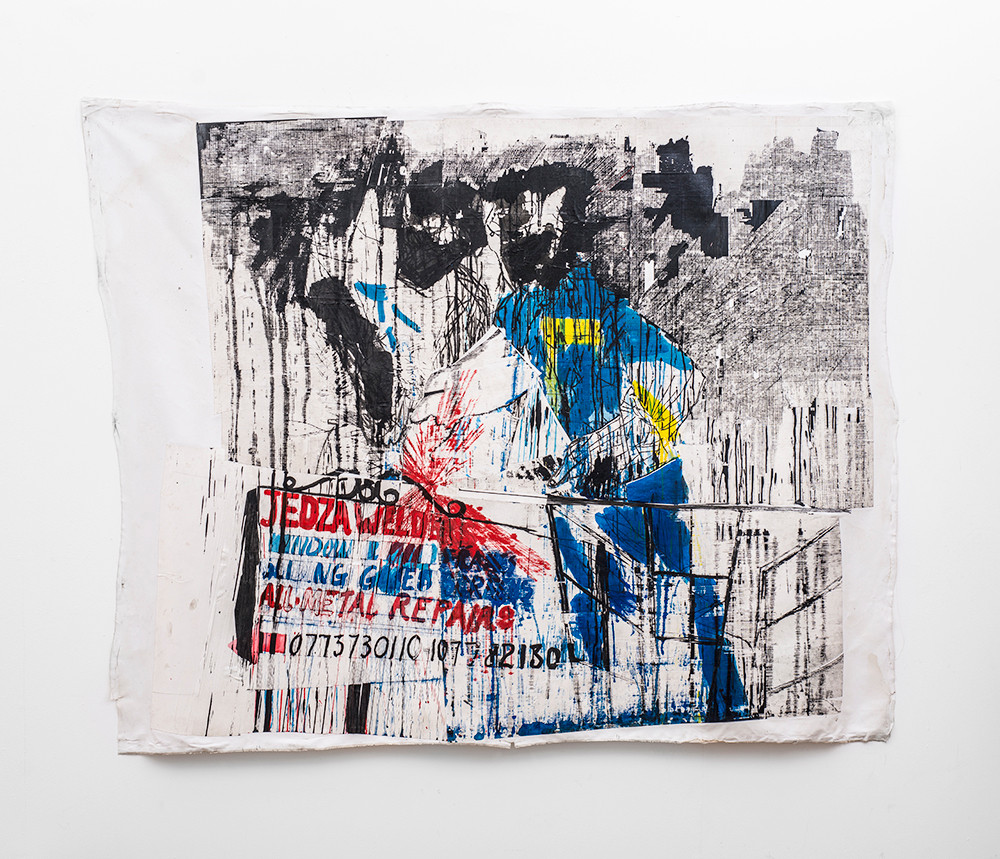 Gareth Nyandoro | Jedza welders | 2019 | Ink on Paper, Mounted on Canvas | 140 x 196 cm