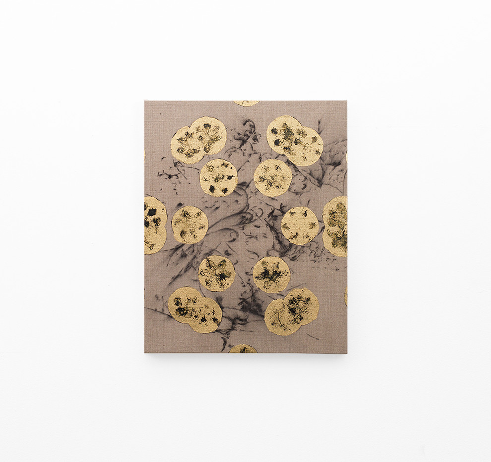 Pierre Vermeulen   Hair orchid sweat print, black in geometry on hair orchid sweat print drawing   2018   Sweat, Gold Leaf Imitate, Shellac and Acrylic on Belgian Linen   50 x 40 cm