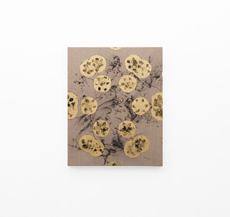Pierre Vermeulen | Hair orchid sweat print, black in geometry on hair orchid sweat print drawing | 2018 | Sweat, Gold Leaf Imitate, Shellac and Acrylic on Belgian Linen | 50 x 40 cm