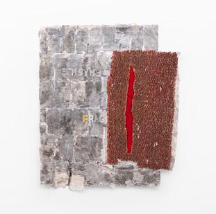 Wallen Mapondera   Open Secret   2020   Cardboard, Waxed Thread and Wax Paper on Canvas   205 x 157 x 3 cm