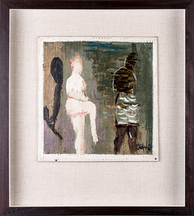 Simon Stone   Two Women, One With Skirt   2019   Encaustic on Cardboard   28 x 28 cm