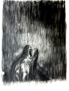 Johann Louw   Dooie Hondekop   2014   Charcoal on Paper   151 x 124 cm