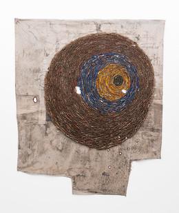 Wallen Mapondera | Looking for Green | 2019 | Cardboard, Waxed Thread and Wax Paper on Canvas | 202 x 168 cm