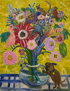 Georgina Gratrix | Lawley Road Flowers | 2015 | Oil on Board | 120 x 90 cm