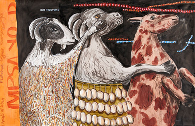 Colbert Mashile | The Dance | 2014 | Mixed Media on Paper | 96.5 x 150.5 cm