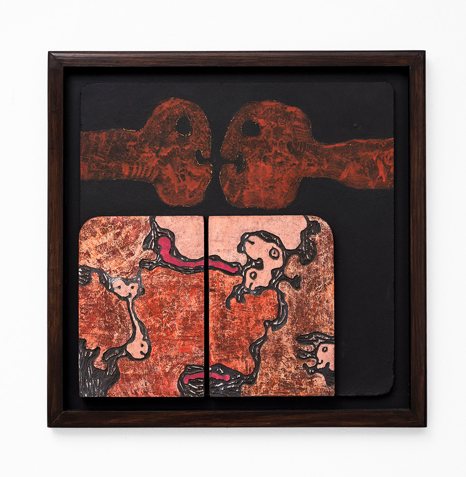 Wopko Jensma | Untitled | n.d. | Carved, Incised and Oil Painted Wooden Panel | 61 x 61 cm