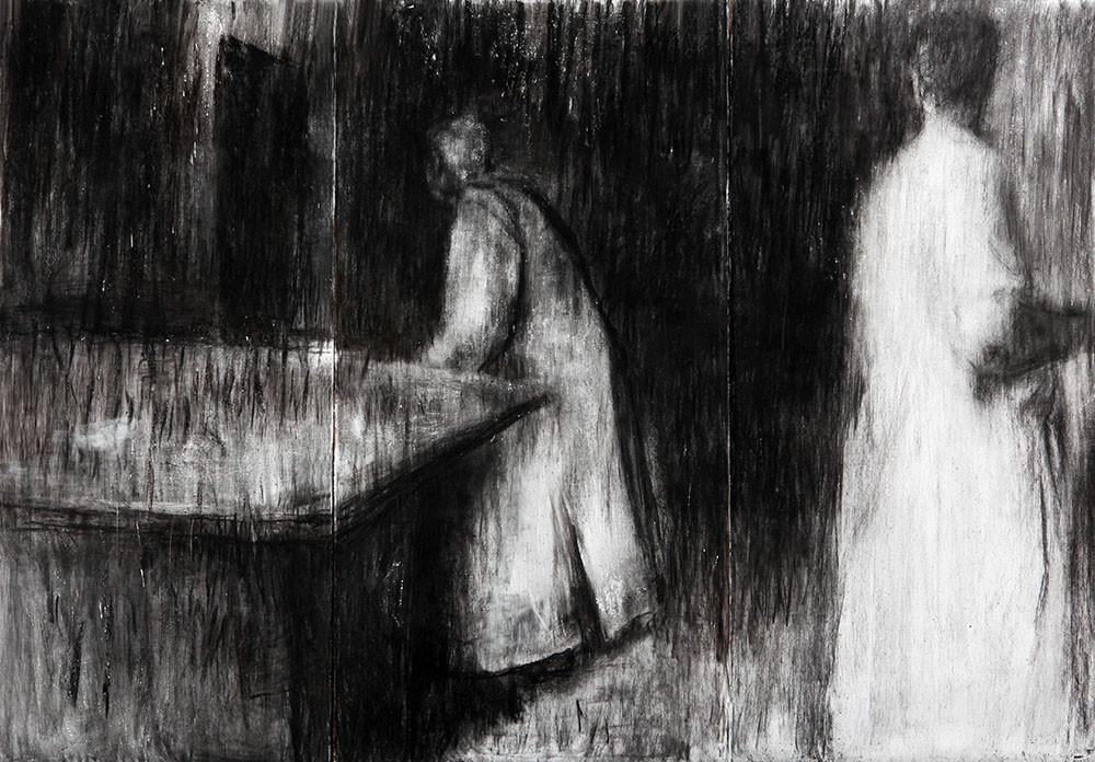 Johann Louw |  Twee Figure in Interieur | 2014 | Charcoal and White Conté on Paper | 244 x 372 cm