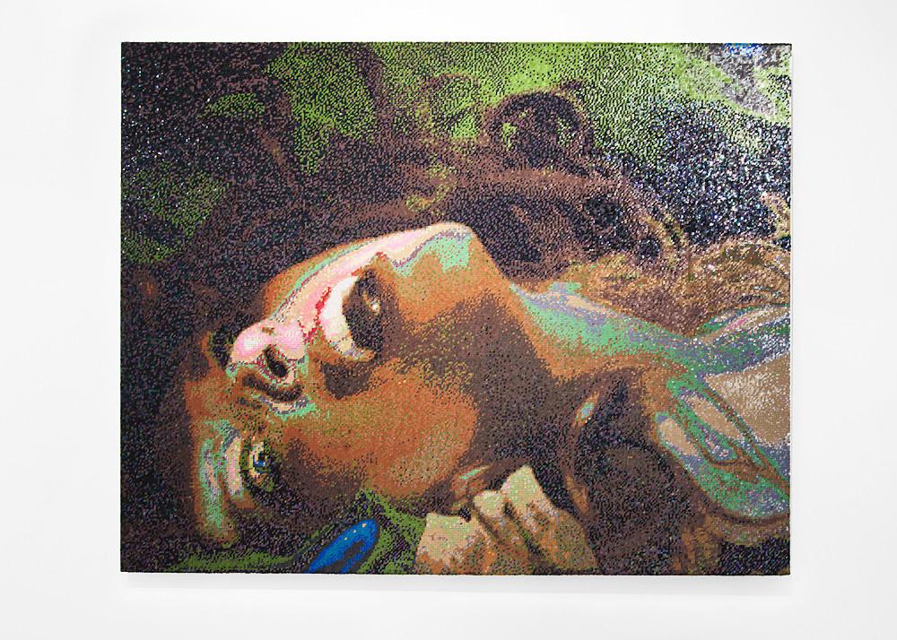 Frances Goodman   Damsel   2016   Hand-Stitched Sequins on Linen   127 x 167 cm