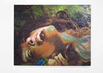 Frances Goodman | Damsel | 2016 | Hand-Stitched Sequins on Linen | 127 x 167 cm