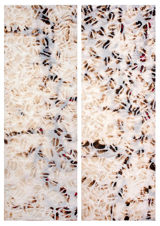 Sandile Zulu | Untitled | 2013 | Fire, Water, Earth, Air, Canvas, Plastic | 120 x 40 cm | Diptych