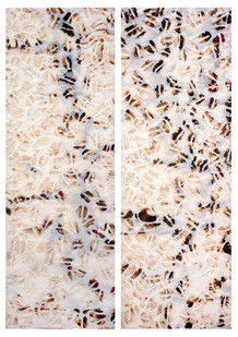 Sandile Zulu | Untitled | 2013 | Fire, Water, Earth, Air, Canvas, Plastic | 120 x 40 cm | Diptych