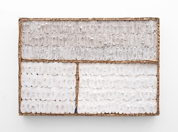 Wallen Mapondera   Untitled   2021   Toilet Paper & Cardboard on Board   90.5 x 131 x 12 cm