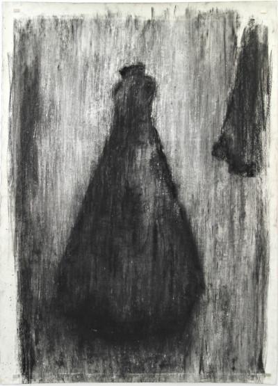 Johann Louw | Rok met Fragment | 2016 | Charcoal on Paper | 210 x 130 cm