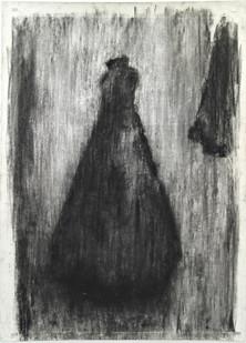 Johann Louw   Rok met Fragment   2016   Charcoal on Paper   210 x 130 cm