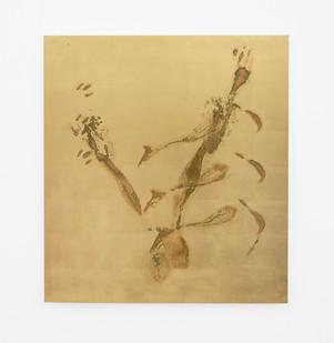 Pierre Vermeulen | Sweat Print no. 21 | 2020 | Sweat and Gold Leaf Imitate on Aluminium | 105 x 94.5 cm