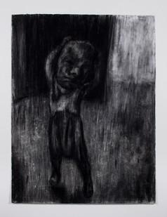 Johann Louw | Meisie met Masker | 2014 | Charcoal on Paper | 163 x 124 cm