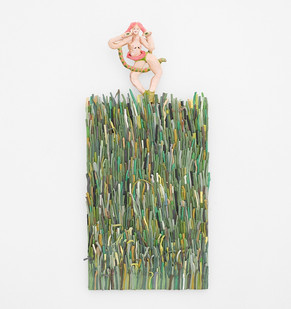 Marlene Steyn & Gabrielle Kruger   Sprouty Green Thingers   2018   Acrylic on Board & Oil on Ceramic   65 x 40.5 cm