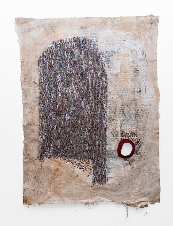 Wallen Mapondera | Untitled | 2019 | Cardboard, Waxed Thread and Wax Paper on Canvas | 208 x 150 cm