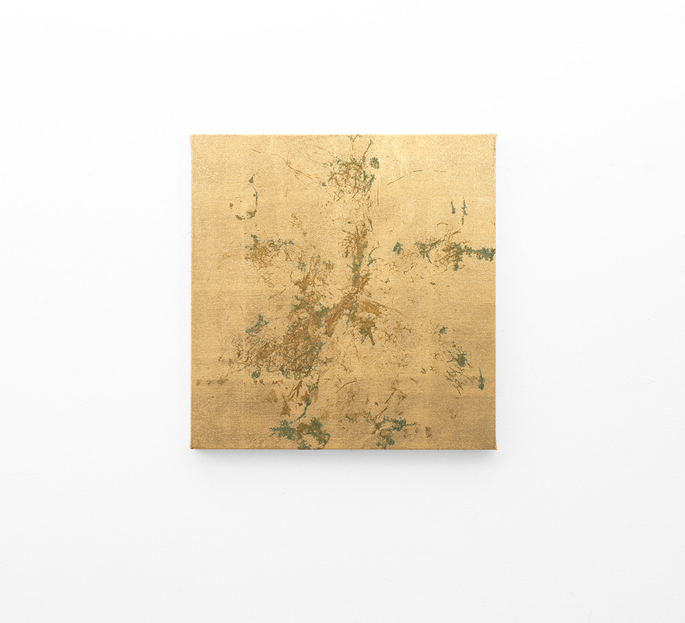 Pierre Vermeulen   Macro hair orchid sweat print, clear linen   2018   Sweat, Gold Leaf Imitate, Shellac and Acrylic on Belgian Linen   47 x 45.5 cm