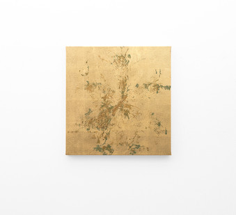 Pierre Vermeulen | Macro hair orchid sweat print, clear linen | 2018 | Sweat, Gold Leaf Imitate, Shellac and Acrylic on Belgian Linen | 47 x 45.5 cm
