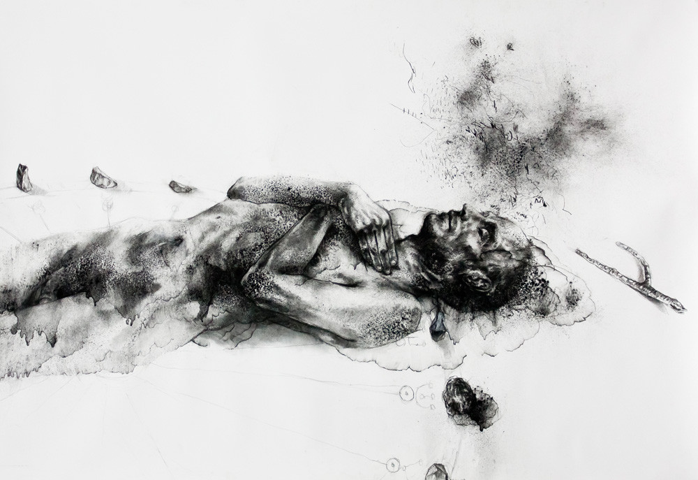 Diane Victor | Dead Man Dreaming | 2014 | Charcoal and Ash Paper | 80 x 120 cm