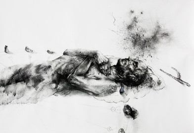 Diane Victor   Dead Man Dreaming   2014   Charcoal and Ash Paper   80 x 120 cm