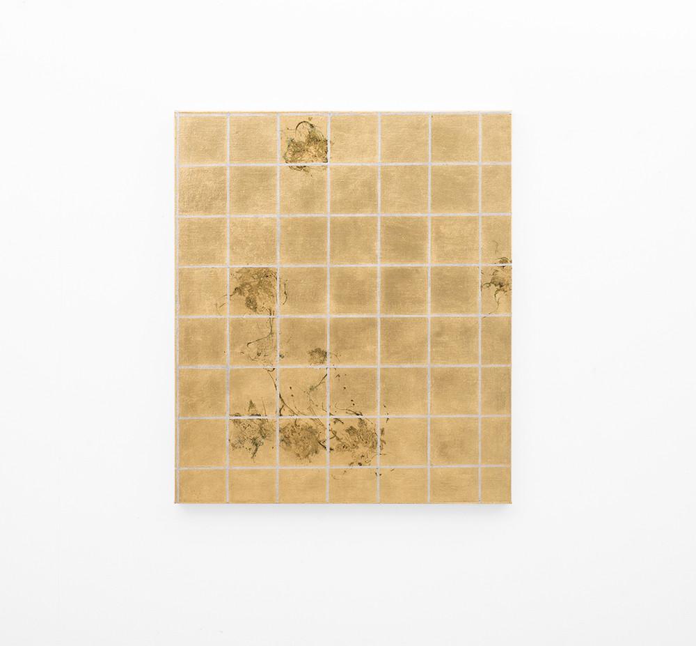 Pierre Vermeulen   Hair orchid sweat print, aluminium grid   2018   Sweat, Gold Leaf Imitate, Shellac and Acrylic on Belgian Linen   104.5 x 93 cm