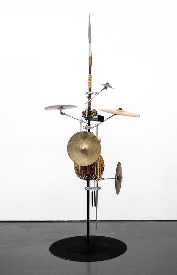 Masimba Hwati   Sokunge 4   2019   Steel Pipe, Brass and Found Objects   257 x 106 x 85 cm